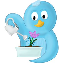 Twitter Bird with Flower by Xenia